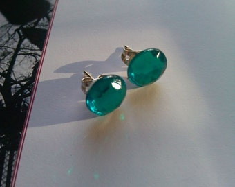 Teal gem earrings
