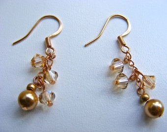 Gold Crystal and Pearl Dangle Earrings