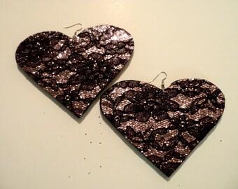 Lace heart earrings, big earrings, glitter earrings, club earrings, sparkle earrings, pink glitter necklace, jumbo size earring, necklaces.