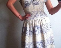 1940s/50s blue dancing native girls day dress/gown stunning conversational print.