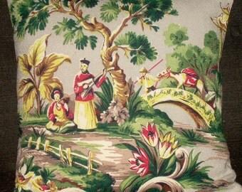 "Mid Century Asian Pillow Cover 1950's Barkcloth Vintage Pillow 20"""