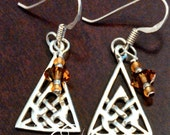 Sterling Silver Celtic Triangle and Swarovski Earrings