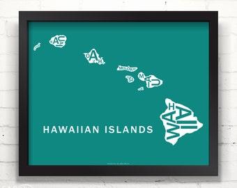 Far Sky Hawaiian Islands Typographic Map