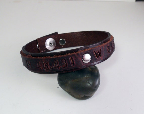 gps coordinates leather cuff bracelet latitude and by