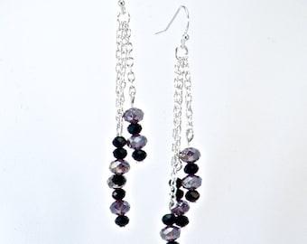 Purple & Jet Pebble Earrings