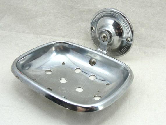 Vintage Chrome Bathroom Soap Dish Wall Mounted