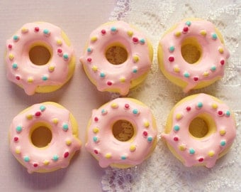 6 Pcs Big Yellow Doughnut With Pink Icing Cabochons - 26mm