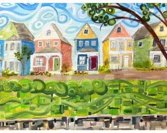 Main Street USA row house paintings Charleston original wall art