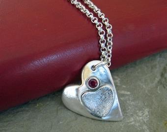 Fingerprint Necklace, Silver Fingerprint Necklace, Heart Fingerprint Necklace, Silver Heart Fingerprint, Fingerprint Birthstone Necklace