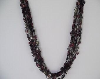 Blackberry  Ladder Trellis Yarn Necklace