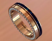 14k Rose Gold Classic Beautiful Wedding Band for Men with Blue Sapphires and Diamonds Item # MR-0009