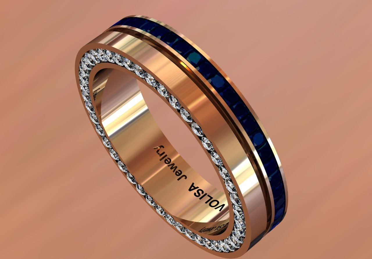 14k Rose Gold Classic Beautiful Wedding Band For Men With Blue. Sun Stone Engagement Rings. Impression Wedding Rings. Guard Rings. Philippines Engagement Rings. Triskele Wedding Rings. Unconventional Wedding Rings. Dimand Wedding Rings. Nature Lover Engagement Rings