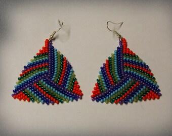 SALE...Colorful beads peyote triangle earrings , beaded earrings