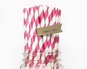 Hot Pink Paper Straws, 25 Pink  Striped Paper Straws, Wedding Table Setting, Baby Shower, Kids Birthday Party, Cake Pop Sticks Made in USA,