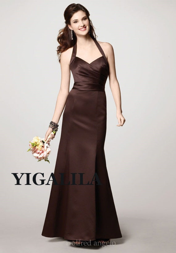 Lady dress/bridesmaid dress/wedding dress/strapless/A-line/satin Prom Dresses/full-length/chocolate/dark brown