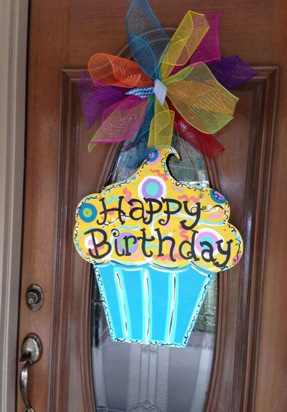 Items Similar To Birthday Door Hanger Cupcake Door Hanger