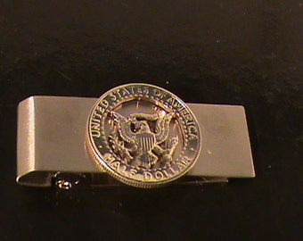 hand cut US 50 cent coin hinged money clip
