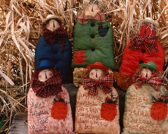 Happy Harvest Embroidered Scarecrow Doll Pattern