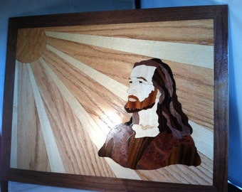 Jesus In the Sunlight Marquetry Wood Art 18 x 14