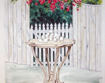 """Still Life  """"Marshmallows on table by gateway"""" original watercolor painting"""