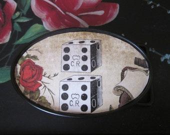 The gambler  retro role the dice vegas rocker red rose bohemian gypsy chic vintage flower  bunko belt buck mens belt buckle women's buckle