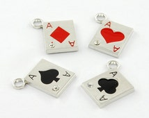 Playing Card Aces Enamel Charms or Pendants  QTY 4