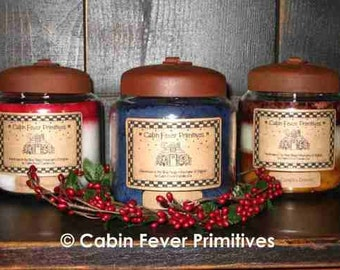 Primitive Jar Candle with rustic country charm