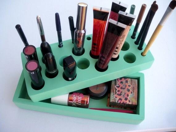 Mint green Makeup organizer storage Makeup by CraftersCalendar