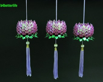 Lot of 3pcs size Small Maroon Color Origami Hanging Lotus. (RS paper series). #FLT-156.