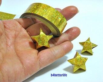 70 Strips of Gold Color Origami Paper Stars Folding Kit For Big Lucky Stars. 50cm x 1.8cm. (4D Glittering paper series). #SPK-178.