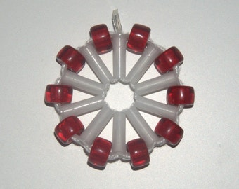 Red Othelma - Recycled plastic & fabric necklace