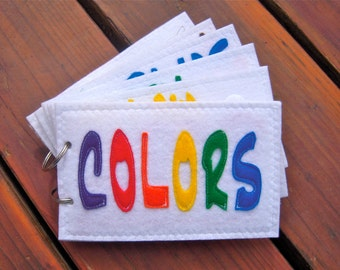COLORS toddler quiet book/felt book/busy book with velcro or snaps - MINI size, New Reduced Price