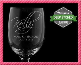 Personalized Wine Glasses, Bridal Party Gifts, 8 regular wine glasses & 8 stemless wine glasses - Personalized Signature