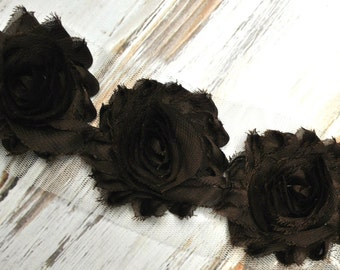 "1/2yd dark Brown shabby flower trim - 2.5"" inch - frayed chiffon - rose flowers by the yard"