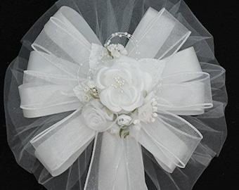 White Rose and Orangaza Flower Wedding Pew Bows Church Aisle Decorations