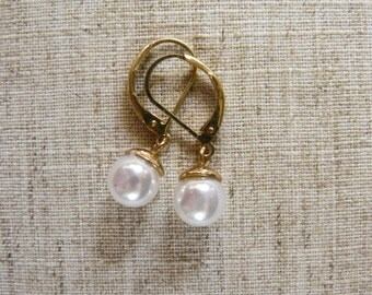 Freshwater Pearl Dangle Earrings (#130E)