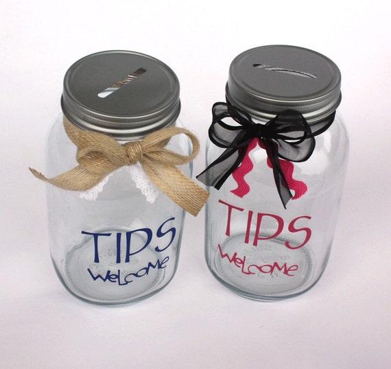 tips welcome bank quart size mason jar with coin slot lid. Black Bedroom Furniture Sets. Home Design Ideas