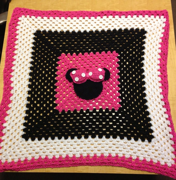 Items similar to Minnie Mouse Crochet Baby Blanket on Etsy