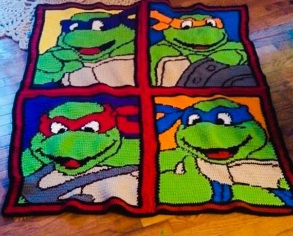Crochet Pattern For Ninja Turtle Blanket : Items similar to Crochet Teenage Mutant Ninja Turtle ...