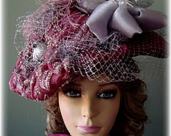 Victorian/Edwardian Style Burgandy and Silver Hat with Feathers,Birds and Bows