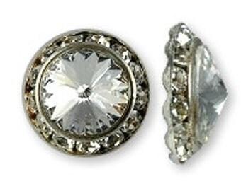 Swarovski Rivoli Crystal Buttons in Silver Filigree (6)