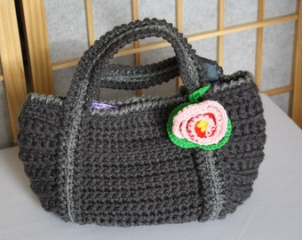 Hand Crocheted Bag Gray with Rose