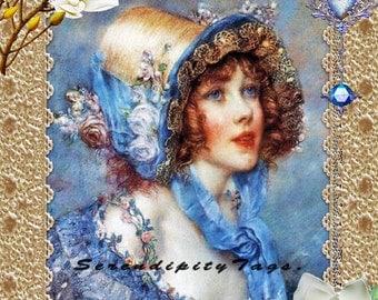Vintage Blue Lady Collage