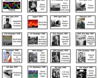 The Twentieth Century 40 Printable Timeline Flash Cards