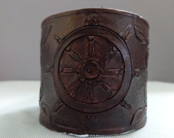 Leather cuff hand tooled by Artrix Leather and Fine Art -The Captain Leather Cuff
