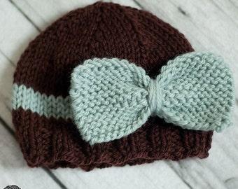 Bow Beanie - PDF PATTERN - newborn baby toddler knit photo prop hat
