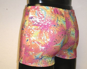 """Mens Mooners L LARGE 34-38"""" Low Rise Hotpants/Shorts Multicolour Neon Silver Paint Splatter Print Spandex Club/Dance/Festival/Swim Stretch"""