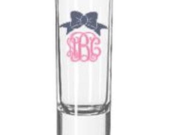 2 oz shot glass - monogrammed