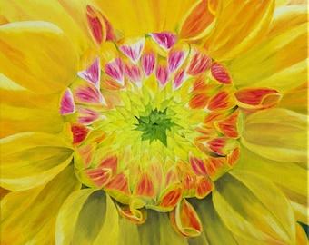 """Dahlia Oil Painting, Flower Oil Painting, Dahlia, Flower, Yellow, Small, Original Oil Painting - """"Yellow Dahlia"""" (18"""" x 18"""" One of a Series)"""