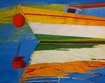 "Boat Oil Painting, Boat, Water Reflection, Original Oil Painting - ""Mare Alta"" (30"" x 48"")"